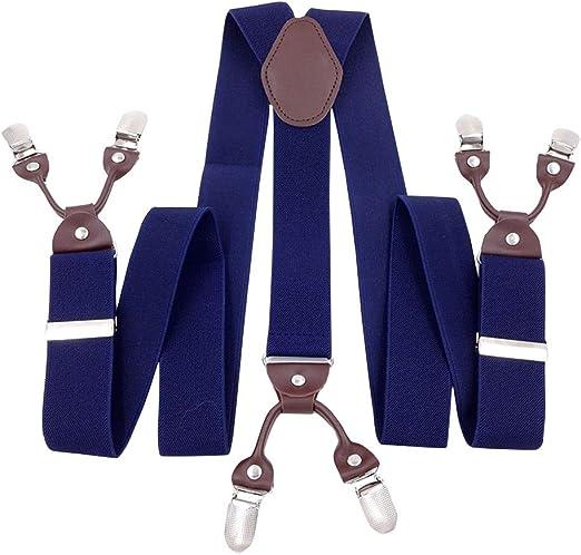 Mens Womens Clip-On Suspenders Leather Elastic Y-Shape Adjustable Retro Braces