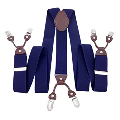 Panegy Retro Hombres Tirantes Elásticos Forma Y Extra Fuerte 6 Pinzas Ajustable (3.5 * 115cm) Clip-on Suspenders para Pantalones - 8 Modelos a ...