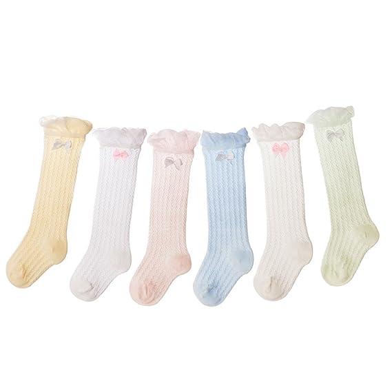 Auxm Calcetines de bebé niña verano, Calcetines largos para bebés Calcetines largos para niños Calcetines