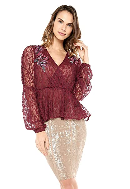 Guess Womens Long Sleeve Estelle Lace Top At Amazon Womens