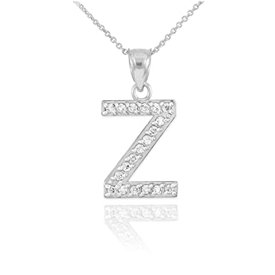 Amazon Com Fine 14k White Gold Diamond Initial Letter Z Pendant