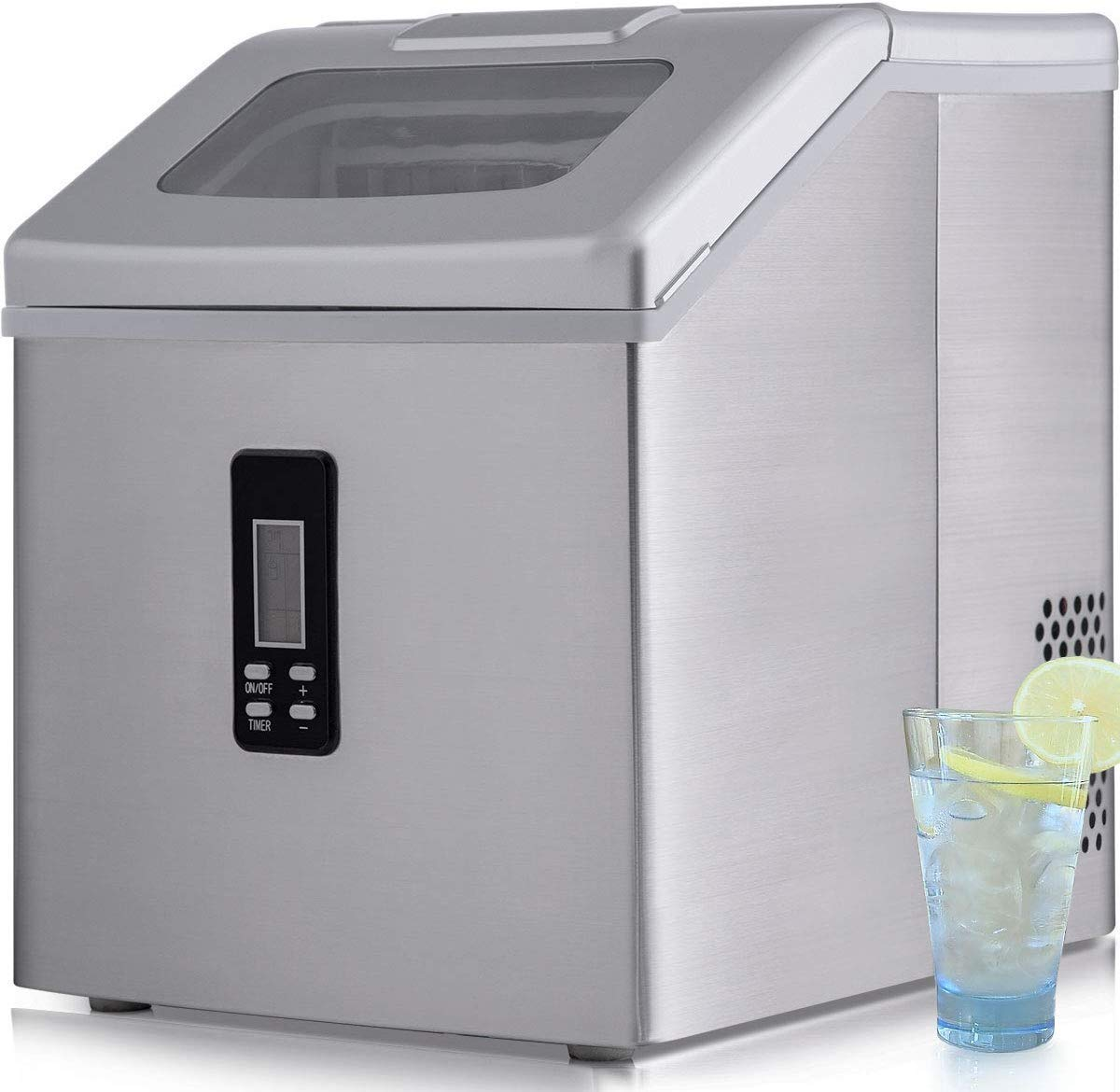 Sentern Portable Electric Clear Ice Maker Machine Stainless Steel Countertop Ice Making Machine, 2.4 lbs Ice Storage 48 lbs Per Day, Real Clear Ice Cubes, Crystal clear ice