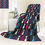YOYI-HOME Silky Soft Plush Warm Duplex Printed Blanket Kids Animals Art Ornamental Kittens Drawings and Cat Pattern Accessories Magenta Blue Black Anti-Static,2 Ply Thick,Hypoallergenic/W47 x H31.5