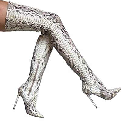 fdd9cde78b8 Amazon.com  ODOKAY Women Snakeskin Leather Fashion Pointed Toe Over The Knee  Thigh High Boots Genuine Leather Shoes Boots  Sports   Outdoors