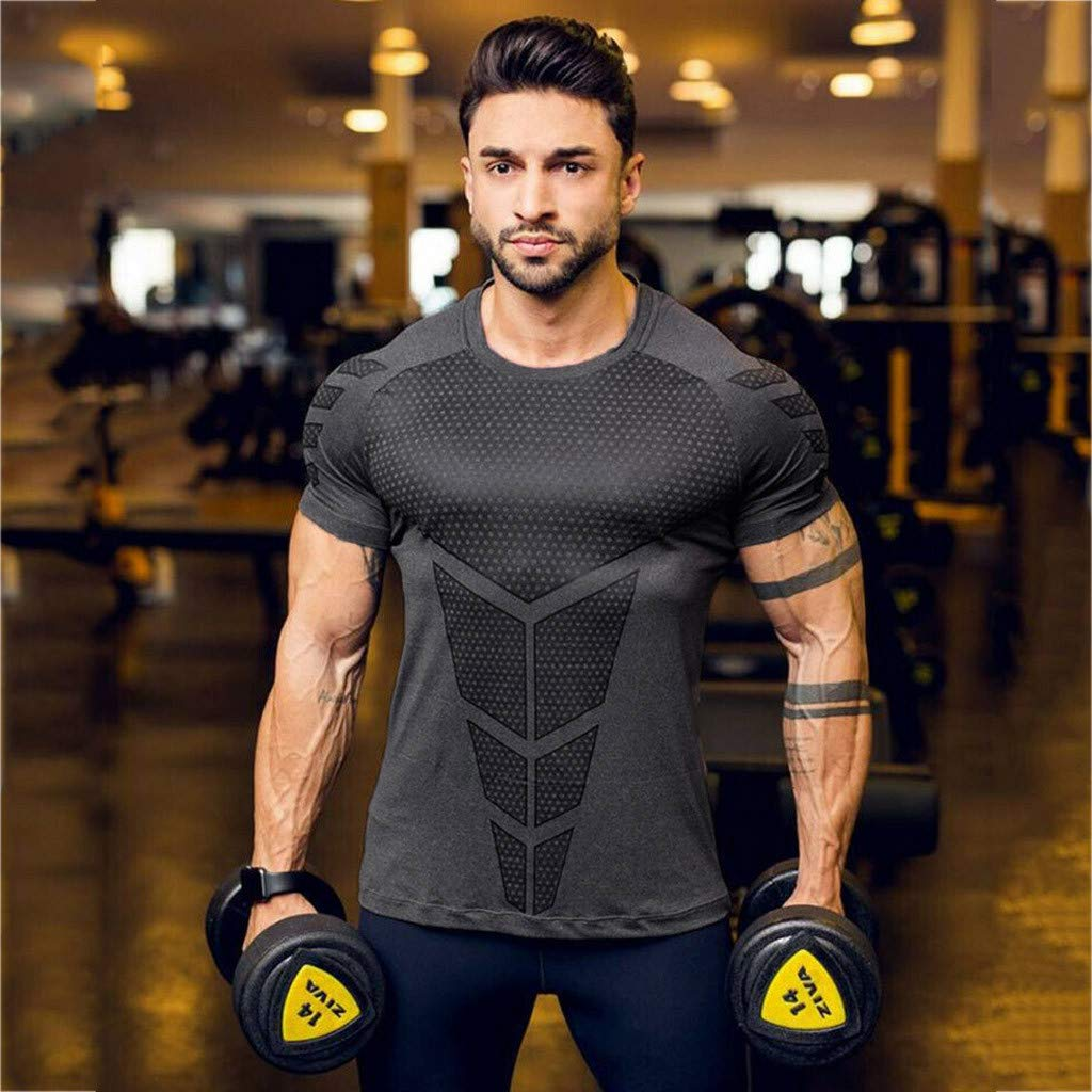 Zackate Mens Slim Fit O Neck Short Sleeve Compression Baselayer T-Shirt Sporty Sweatshirts Top Blouse