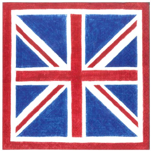 Heritage Luncheon Plate - Entertaining with Caspari Union Jack Paper Luncheon Napkins, Pack of 20