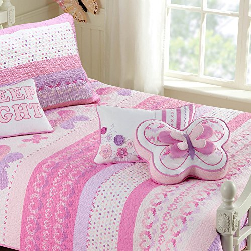 Cozy Line Home Fashions 100% Cotton Lightweight but Warm Pink Butterfly Stripe Hearts Girls Bedding Quilt Set (Pink Butterfly, Full/Queen - 3 Piece) (Childrens Quilts Bedding)