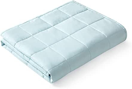 YnM Weighted Blanket — Heavy 100% Oeko-Tex Certified Cotton Material with Premium Glass Beads (Light Blue, 48''x72'' 15lbs), Suit for One Person(~140lb) Use on Twin/Full Bed