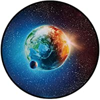 Printing Round Rug,Outer Space Decor,Planet Earth in Sun Rays Elements Astronomy Atmosphere Sky Satellite Moon Lunar Image Mat Non-Slip Soft Entrance Mat Door Floor Rug Area Rug For Chair Living Room,