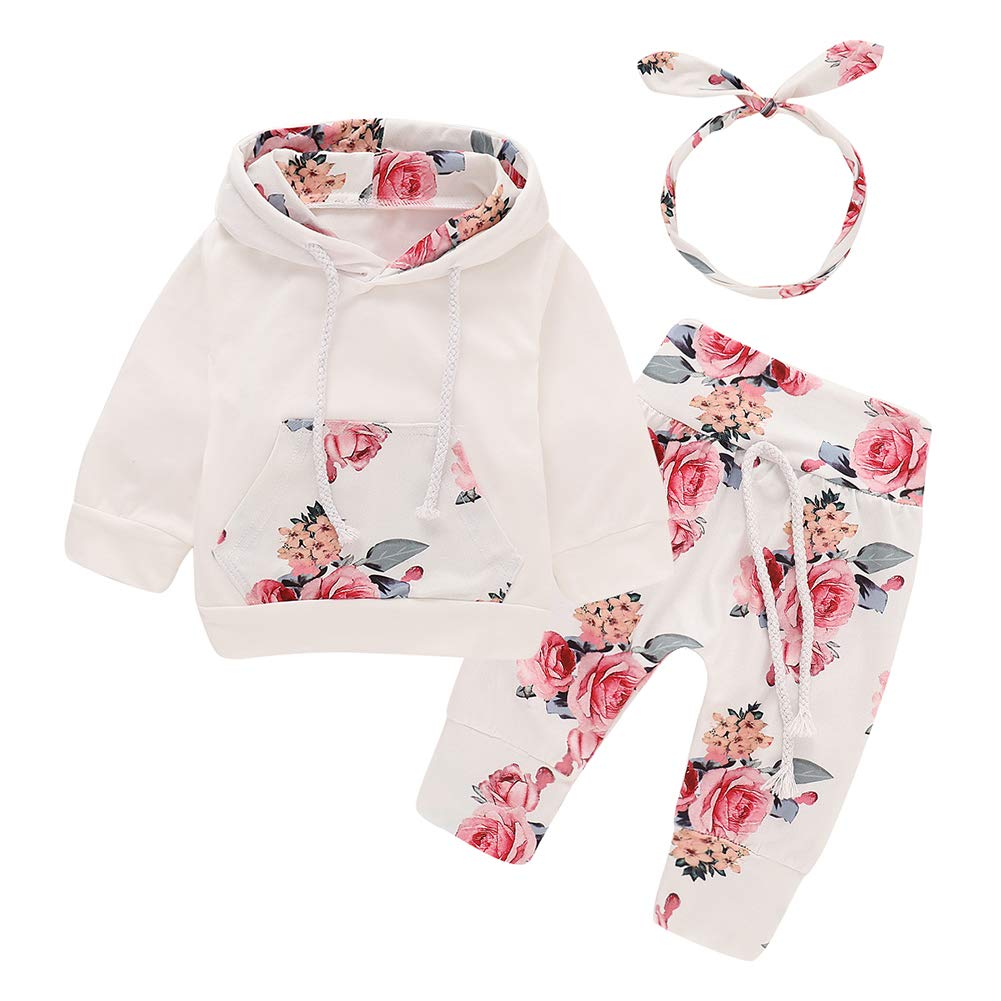 NELNISSA Baby Girls Clothing 3pcs Newborn Floral Print Hooded Outfits Sets White