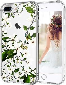 MOSNOVO iPhone 7 Plus Case, iPhone 8 Plus Case Protective, Floral Magnolia Flower Pattern Clear Design Transparent Case with TPU Bumper Case Cover for iPhone 7 Plus/iPhone 8 Plus