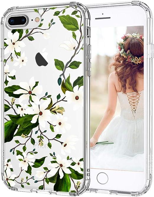 iPhone 7 Plus Case, iPhone 8 Plus Case Protective, MOSNOVO Floral Magnolia Flower Pattern Clear Design Transparent Case with TPU Bumper Protective ...
