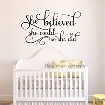 She Believed She Could So She Did Wall Decal Inspirational Quotes Nursery  Wall Decals Girls Bedroom Decor (Black,13\