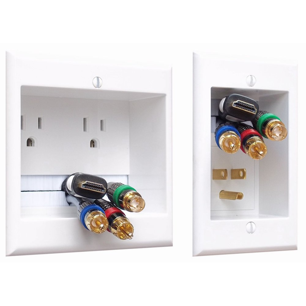 and Plasma TV/'s PowerBridge TWO-CK Dual Outlet Recessed In-Wall Cable Management System with PowerConnect for Wall-Mounted Flat Screen LED LCD
