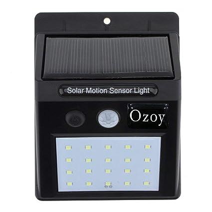 OZOY Bright Waterproof Solar Wireless Security Motion Sensor LED Night  Light for Outdoor/Garden Wall (Black) - Set of 20