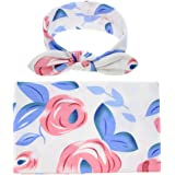 Baby L Newborn Baby Swaddle Blanket with Headbands Set | Floral Receiving Nursery Blankets (Blue)