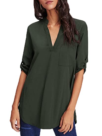 ec3ae2e32a SheIn Women's Casual V Neck Curved Hem Top Blouse Shirt Army Green Small