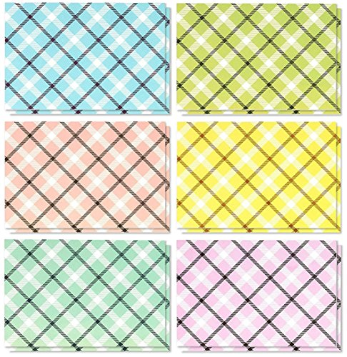 All Occasion Assorted Blank Note Cards Greeting Cards Bulk Box Set - 6 Colorful Pastel Plaid Designs - Blank on the Inside Notecards with Envelopes Included - 4 x 6 Inches, 48 Pack