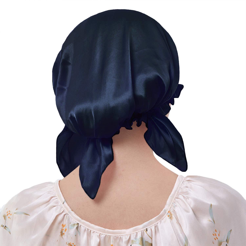 Everkeen 100/% seta di gelso notte berretto da notte per donna capelli bellezza bonnet cappello a pelo con elastico regolabile nastro