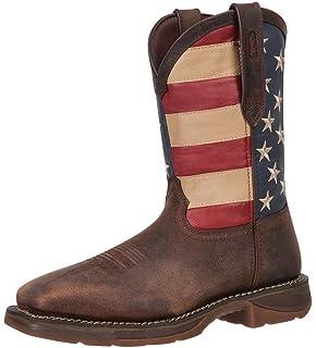 ca23d44bf4d Durango Men s American Flag Square Steel Toe Brown Western Boots DB020 ...