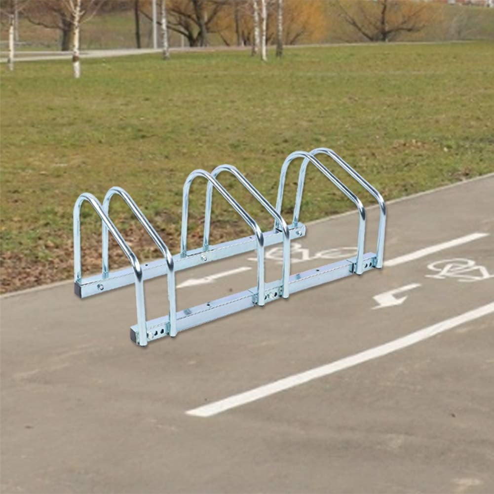 Greensen Supporto da Pavimento per 3 Biciclette Supporto per portabici da parcheggio Robusto Supporto per portaoggetti per Garage Indoor Outdoor Facile da installar