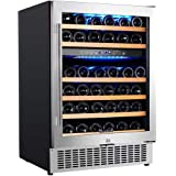 【Upgraded】Aobosi 24 Inch Dual Zone Wine Cooler 46 Bottle Freestanding and Built in Wine Refrigerator with Advanced Cooling Sy