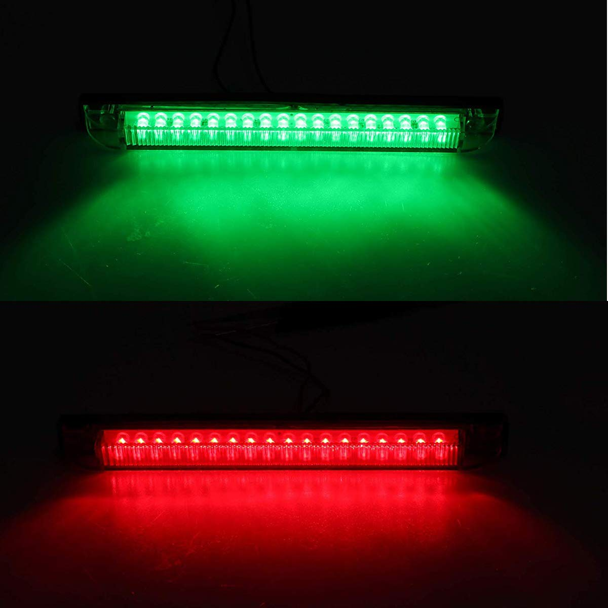 2Green + 2Red 4-Pack 8 Boat Bow Navigation Light 18 LED Red /& Green Marine Utility Strip Bar Waterproof Side Marker Lights for Boat RV Trailer