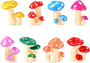 MAOMIA Miniature Mushroom Figurines 8 Pcs Fairy Garden Accessories Mushroom Cake Toppers Micro Landscape Garden Decoration Plant Flower Pots Ornaments,