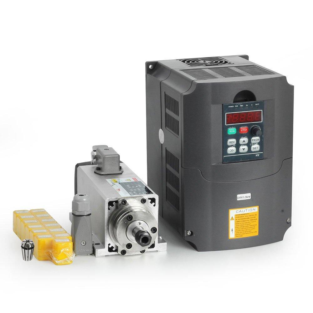 Air Cooled Spindle Motor Kits 220V 1500W 1.5KW DIY CNC Engraving Milling Machine Tool Square Spindle with 220V 1.5KW Inverter VFD and 13PCS ER11 Collet Set