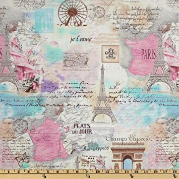 Amazoncom Timeless Treasures April In Paris Collage Pastel - Paris map fabric