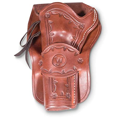 Western Justice Hand-Tooled Leather Holster, 6, Mahogany, Left Hand