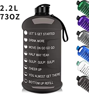 2.2L/75OZ Gym Sports Water Bottle Half Gallon Water Jug with Mitivational Time Marker Dishwasher Safe Portable Big Capacity BPA Free Drinking Gym Water Jug for Men Women Fitness Gym Outdoor