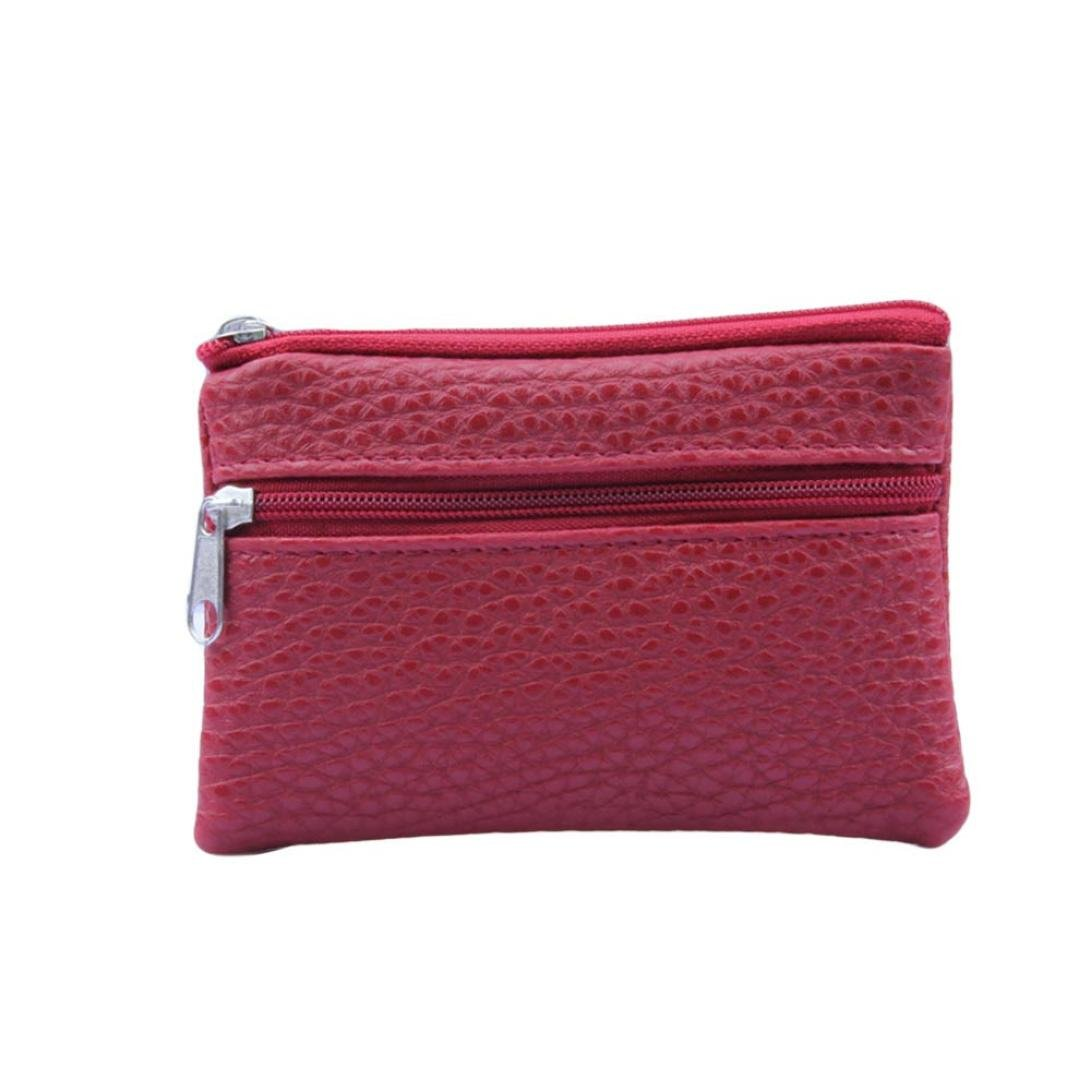 Han Shi Women Men Leather Wallet Unisex Multi Functional Zipper Card Coin Purse (S, Red)