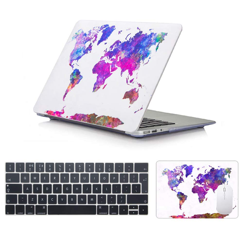 Bundles 5 in 1 Models:A1706//A1989 - Cat in Sunglasses AUSMIX Macbook Pro 13 Inch Case 2016//2017//2018 - Plastic Case,Laptop Sleeve,Keyboard Cover,Mouse Pad,Screen Protector Pro Retina 13
