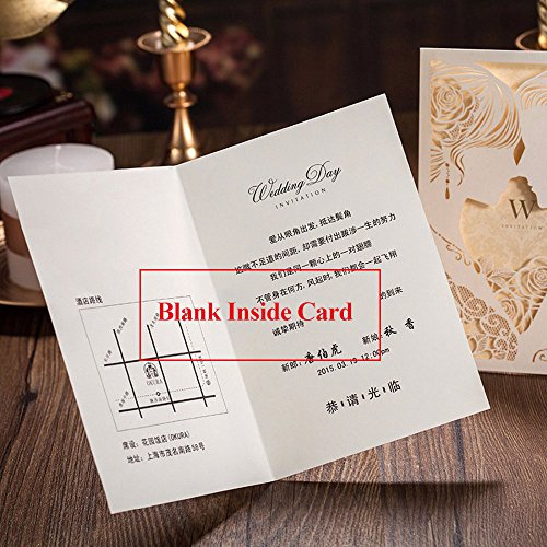 Engagement White Laser Cut Couples Wedding Invitations Elegant Hollow Groom & Bride Dinner Party Invite Cards CW010 (100) by Wishmade (Image #4)