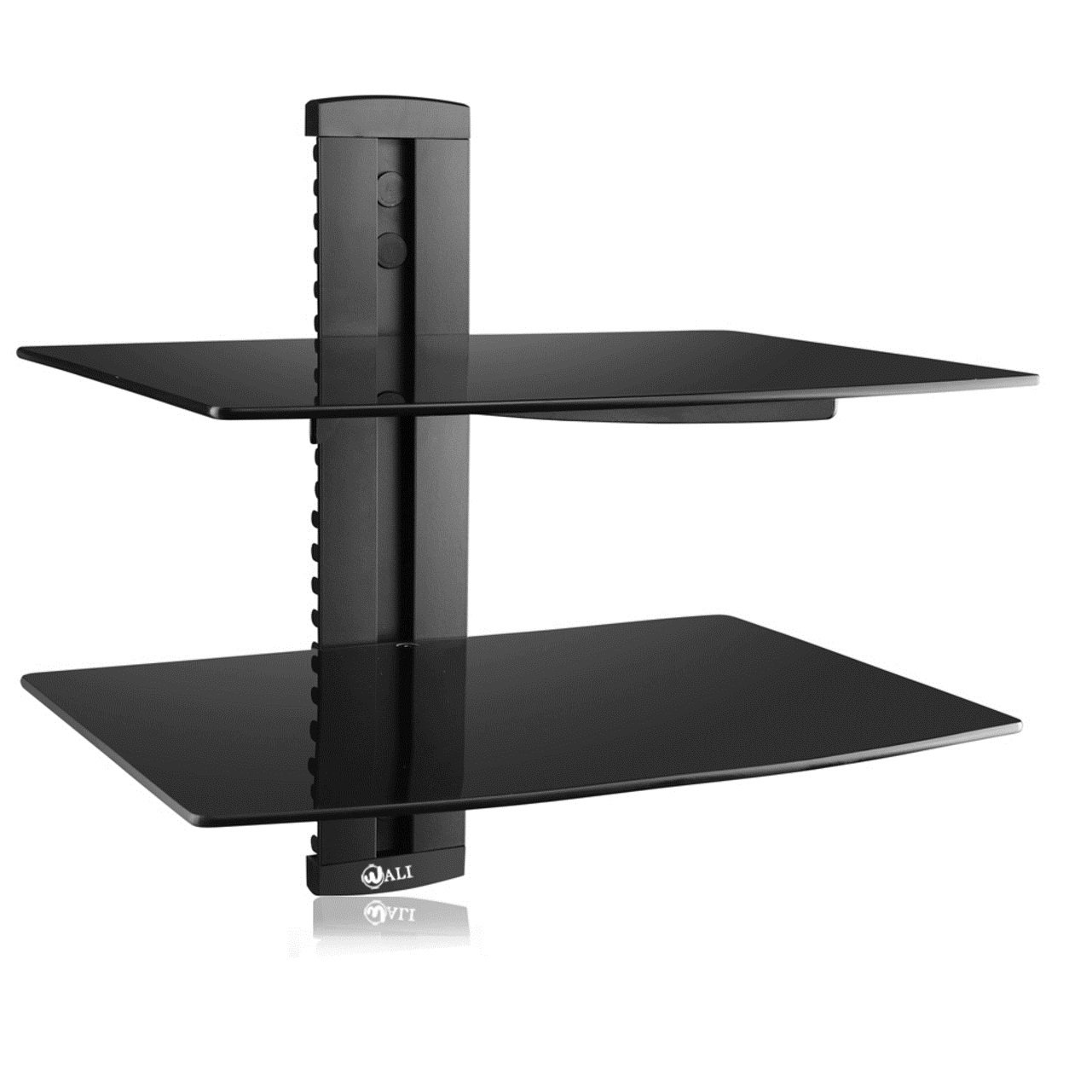 WALI Floating Shelf with Strengthened Tempered Glass for DVD Players/Cable Boxes/Games Consoles/TV Accessories (CS202), 2 Shelf, Black