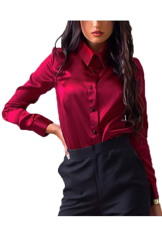 Simgahuva Raso Bluse e Camicie da Donna Lungo Manica Formale Magro Sezione T-Shirt Top e Bluse