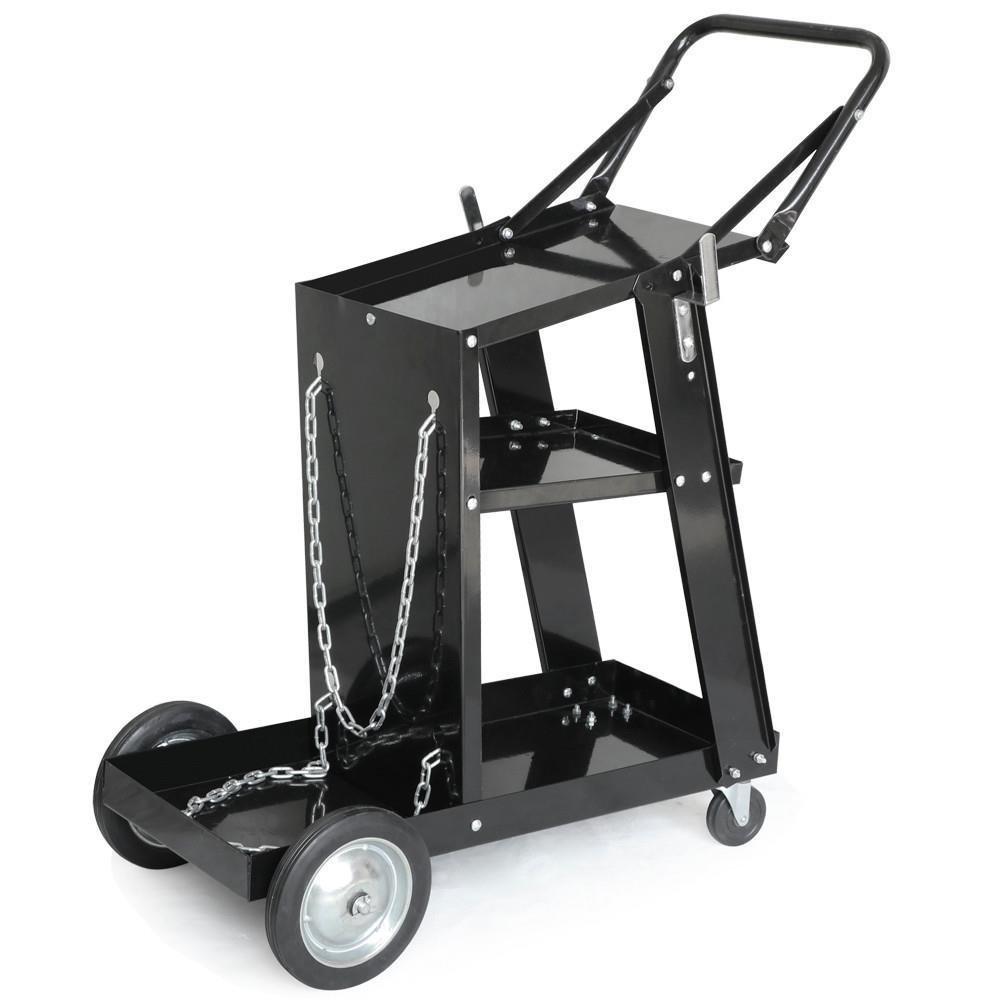 Yaheetech Welding Cart Trolley Welder Universal Storage Black ...