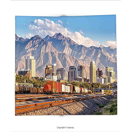 Party Supplies Salt Lake City Utah (Custom printed Throw Blanket with Landscape Downtown Salt Lake City Skyline in Utah USA Railroads Mountains Buildings Urban Multicolor Super soft and Cozy Fleece Blanket)