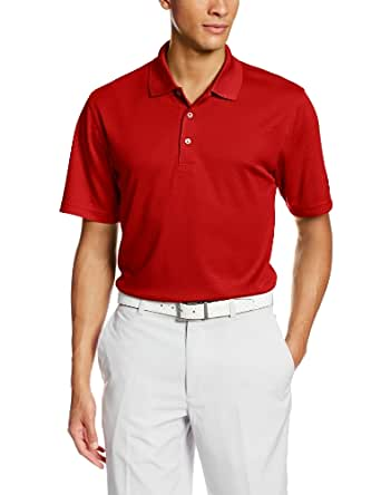 PGA TOUR Men's Short Sleeve Textured Solid Polo, Chili Pepper, Medium