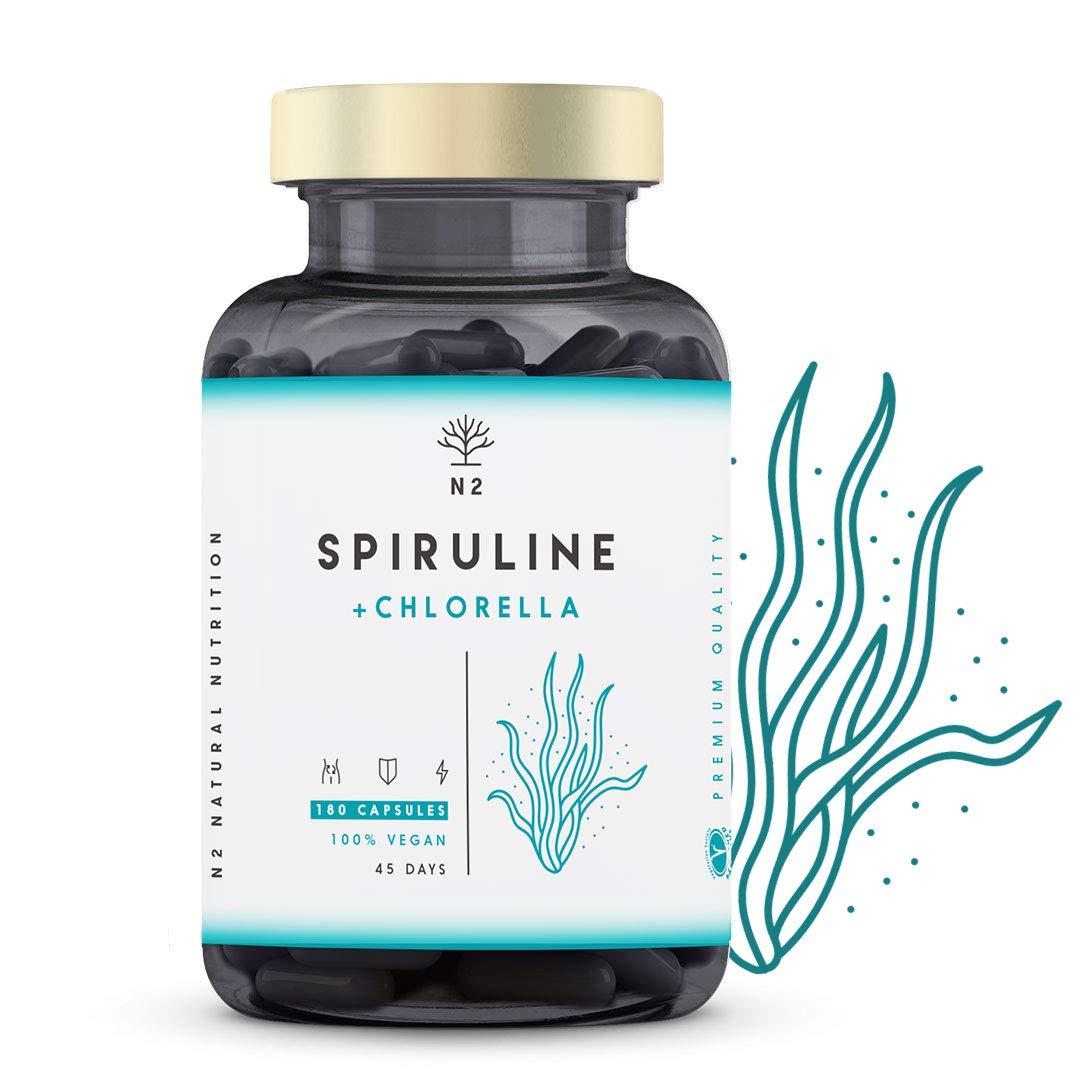 Chlorella Espirulina.Spirulina Potente DETOX Antioxidante-Sistema Inmunitario-Proteinas Vegetales-Hierro-Elimina Metales-Probiotico-180 Capsulas ...
