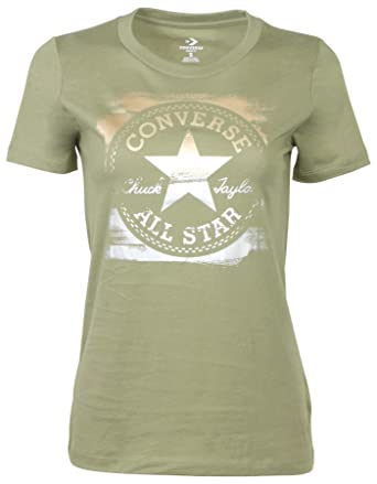 199192d0a40a4a Amazon.com  Converse Women s Metallic Core Patch Chuck Taylor T-Shirt   Clothing