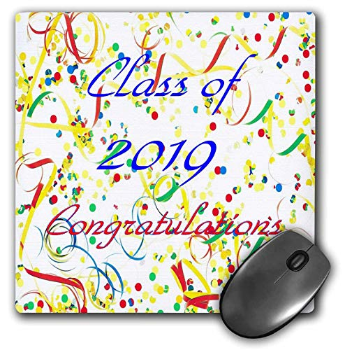 3dRose Lens Art by Florene - Graduation - Image of Class of 2019 On Colorful Red Blue Yellow Ribbons - Mousepad (mp_308069_1) (Yellow Ribbon Mouse Pad)