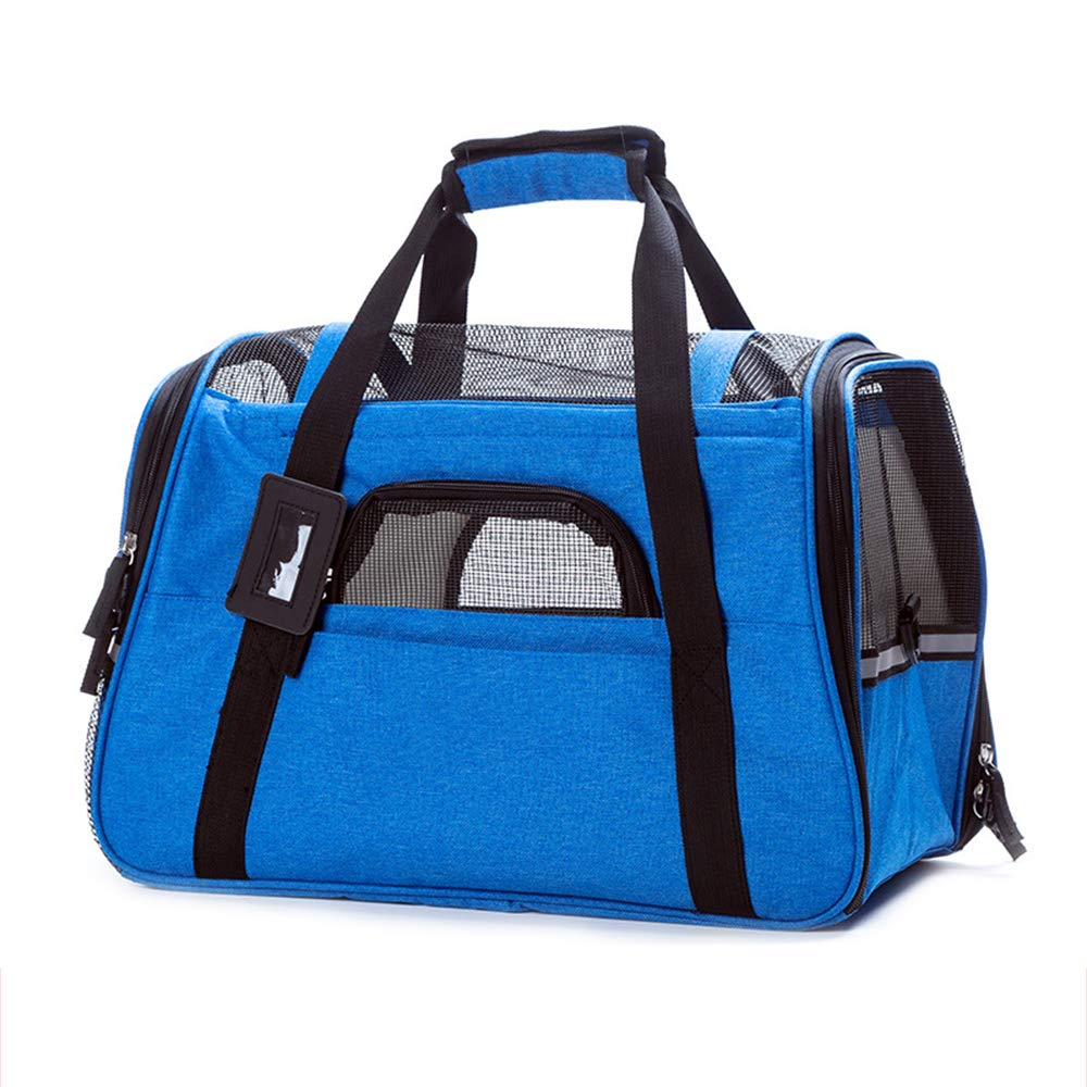 bluee FGJFA Pet Travel Carrier Dog Cat Puppy Lightweight Bag With Soft Cushion Hand Carry Portable Bag Home For Little Dogs Small Pet Carrier Travel Bag For Small Animals With Mesh Top And Sides