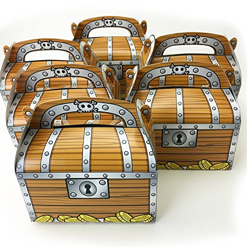 Adorox Pirate Treasure Chest Decoration Party Favor Goodie Candy Box (24 Pieces) (Pirate Decoration)