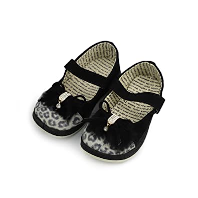 BIZAR Leopard Rhinestone Toddler Baby Girls Moccasins Anti-Slip Soft Sole Princess Shoes Black