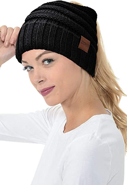 Frauen Pferdeschwanz Beanie Mütze Bun Stretch gestrickt Mütze warme WinterPDODDE