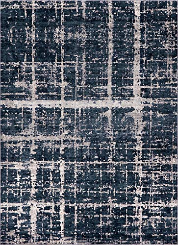 Unique Loom Uptown Collection by Jill Zarin Collection Textured Modern Navy Blue Area Rug (9' 0 x 12' -
