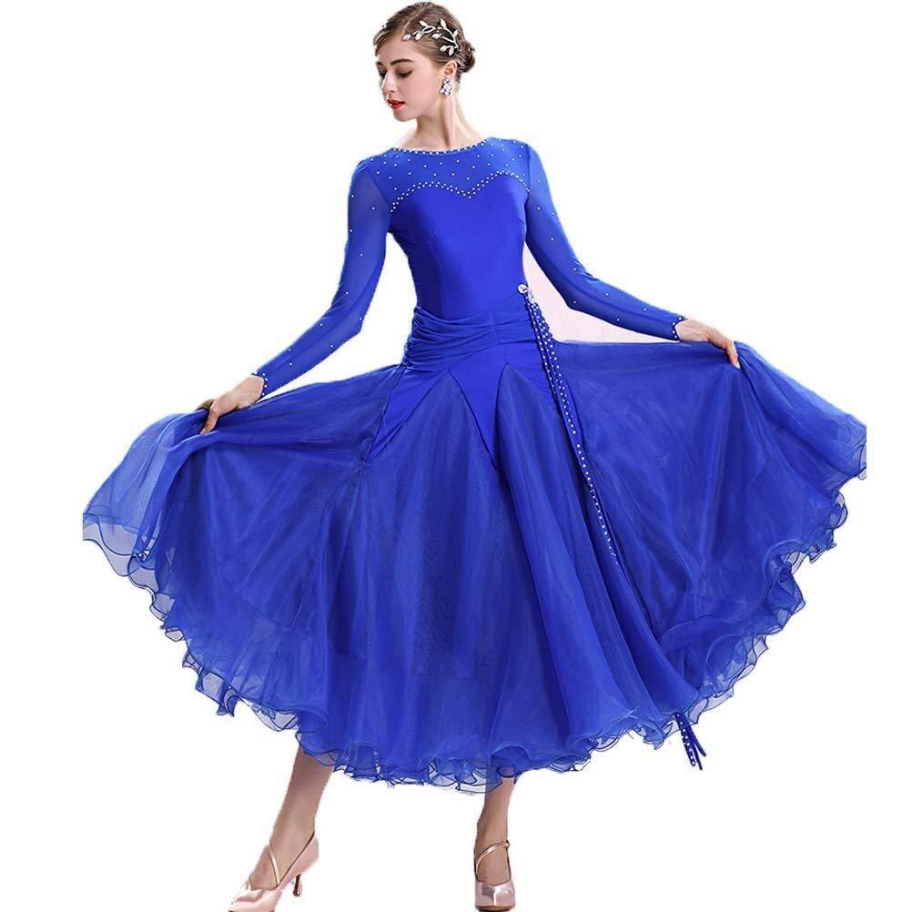 bleu Medium Diyade Classique Simple Moderne Danse Perforhommece Robes Professional Tango Valse Foxtrouge Compétition Grand Swing Robe VêteHommests (Couleur   bleu, Taille   XXL)