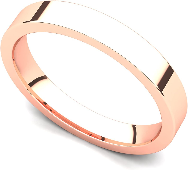 18k Rose Gold 3mm Classic Plain Flat Wedding Band Ring